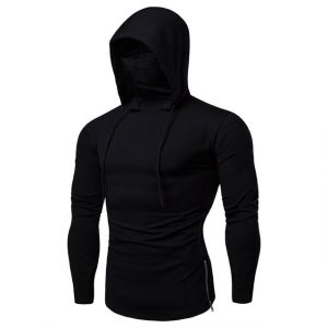 Men's Thin Long Sleeve Hoodies With MasK