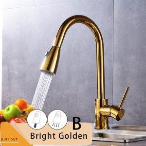 Rozin Brushed Nickel Kitchen Faucet Single Hole Pull Out Spout