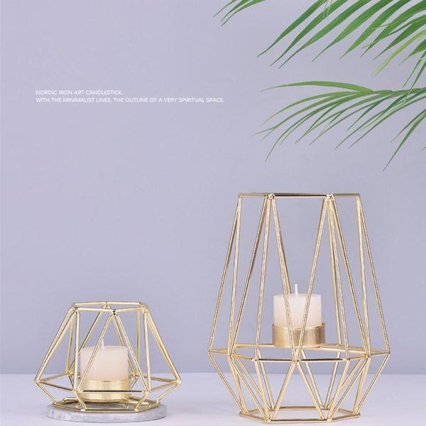 Nordic Style Wrought Iron Geometric Candle Holders