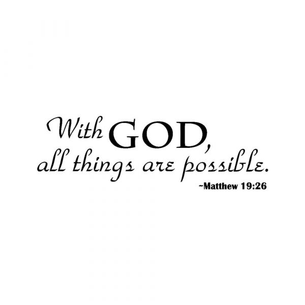 """""""With God, All Things Are Possible"""" Inspirational Vinyl Wall Sticker"""