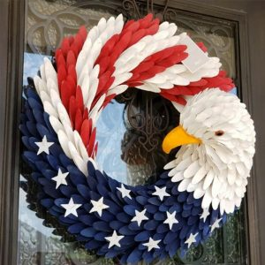 Door Decorated With American Flag Eagle Wreath