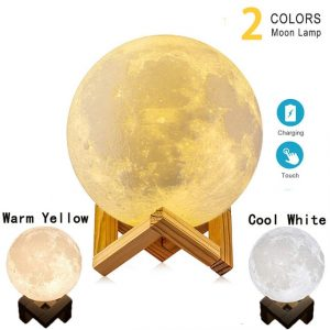 LED Night Light 3D Print Moon Lamp Rechargeable