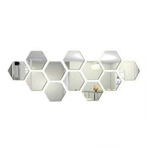 12Pcs/Set Hexagonal 3D Mirror Wall Stickers