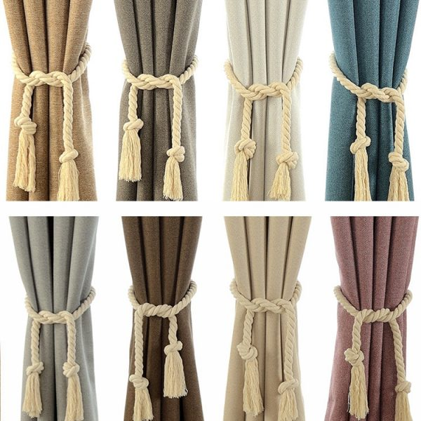 2 Pcs/Set Home Curtain Buckles Tie Rope Solid Color