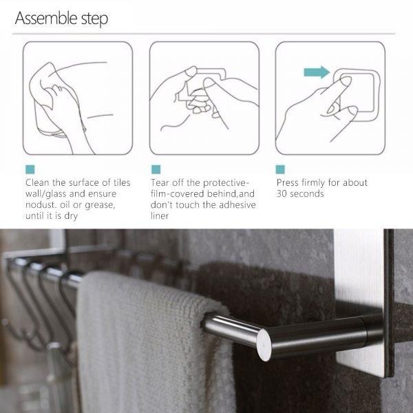 55CM Stainless Steel Bathroom Shelves Fixed Bath Towel Holder