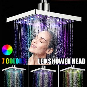 6 Inch ABS Square Adjustable Rainfall LED Changing Shower Head