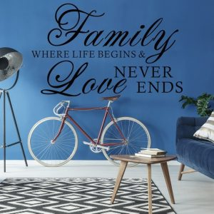 "Wall Lettering Art: ""Family Where Life Begins & Love Never Ends"""