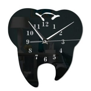 Mirror Effect Tooth Dentistry Wall Clock