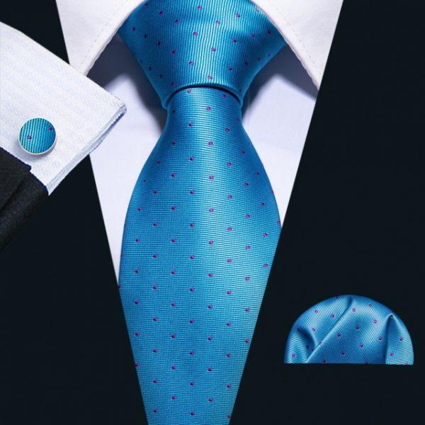 Fashion Navy Polka Dot 100% Silk Tie Barry.Wang Gift Woven Neck Tie For Men Party Business Wedding Free Shipping FA 5095|Men's Ties & Handkerchiefs|