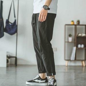 Summer Cotton Harem Pants Men Casual Hip Hop Trousers Drawstring Cross Bloomers Calf Length Pants|Casual Shorts|
