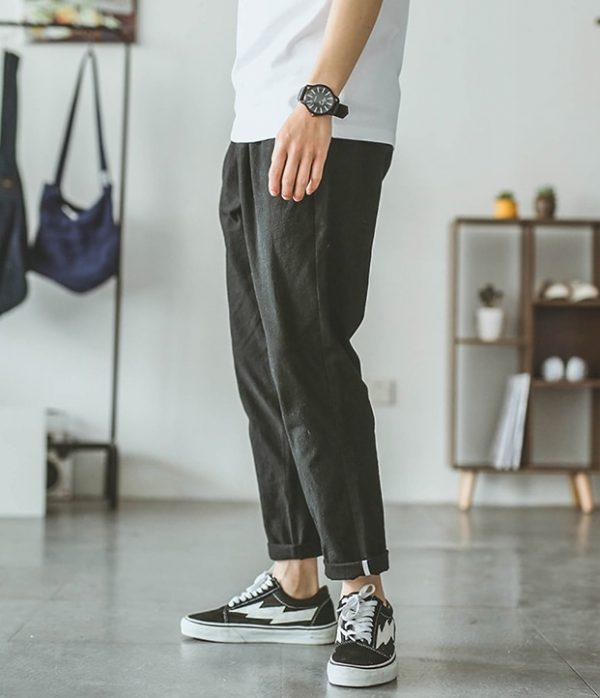 Summer Cotton Harem Pants Men Casual Hip Hop Trousers Drawstring Cross Bloomers Calf Length Pants Casual Shorts 